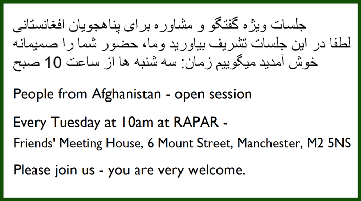 People from Afghanistan session, Tuesdays at 10am